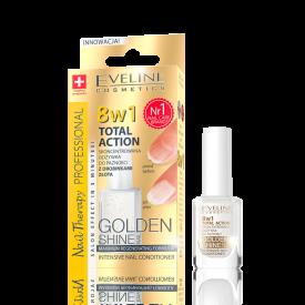 Eveline 8in1 Total Action körömápoló arany szemcsékkel, 12 ml