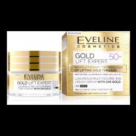 Eveline Gold Lift Expert 50+ luxus multi-tápláló nappali és éjszakai krém-szérum 24k arannyal, 1,5 ml