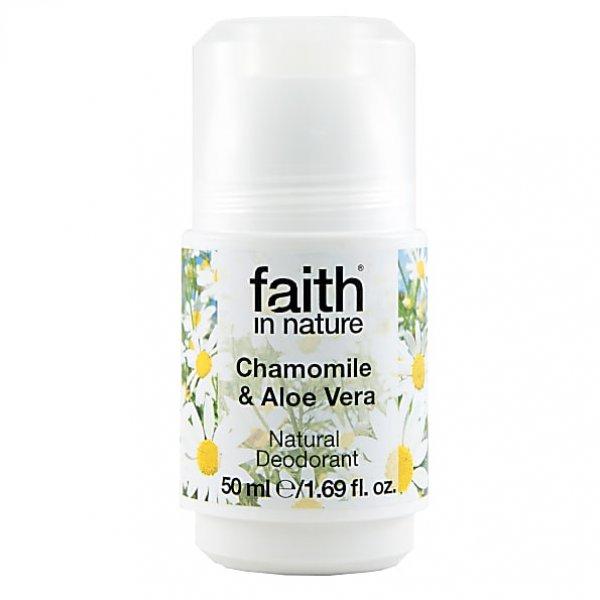 Faith in Nature golyós dezodor Aloe verával és kamillával, 50 ml