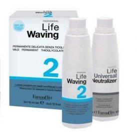FaramaVita Life Waving Dauerszett 2 - rendkívül igénybevett, vegyileg kezelt hajra, 2x110 ml