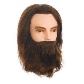 Hair Tools Karl férfi szakállas babafej, 25 cm