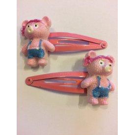 Byou rózsaszín macis gyerek csit csat, 2 db
