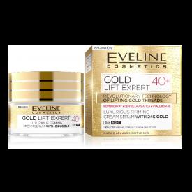Eveline Gold Lift Expert 40+ luxus feszesítő nappali és éjszakai krém-szérum 24k arannyal, 50 ml
