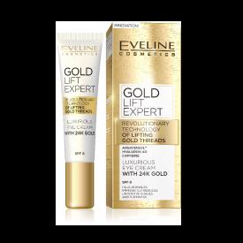Eveline Gold Lift Expert luxus szemkörnyékápoló krém 24k arannyal SPF8, 15 ml