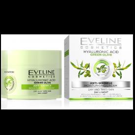 Eveline Hialuronsav, Zöld Olíva hidratáló ránctalanító nappali és éjszakai arckrém száraz és fáradt bőrre, 50 ml