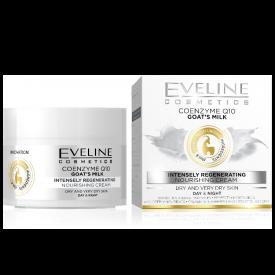Eveline Q10 koenzim, kecsketej Intenzív regeneráló, tápláló nappali és éjszakai arckrém száraz és nagyon száraz bőrre, 50 ml
