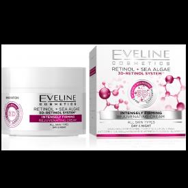 Eveline Retinol és tengeri algák intenzív feszesítő fiatalító nappali és éjszakai arckrém minden bőrtípusra, 50 ml