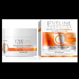 Eveline Bioaktív C vitamin Aktív fiatalító világosító nappali és éjszakai arckrém, 50 ml