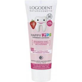Logodent Happy Kids Fluoridmentes gyermek foggél bio eperkivonattal, 50 ml