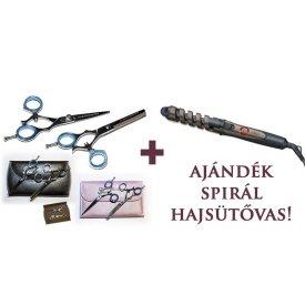 Blade Master Flex Set 5,5 professzionális fodrászolló fekete szett + AJÁNDÉK spirál hajsütővas