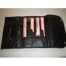 Haito Basix ollószett és pink fésű szett ajándék eszköztartóval