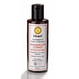 Khadi Ayurvédikus fürdő- és tusológél Gránátalmavirág és Narancs bőrre és hajra, 210 ml