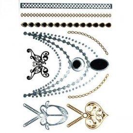 Tatoo Ékszertetoválás arany, ezüst, fekete, elegáns 14x21cm - 15357000